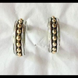 Vintage silver gold mixed metal hoop earrings